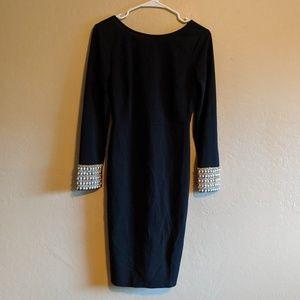 Lulu's Dresses - Lulu's Embellished Long Sleeve Bodycon Midi Dress